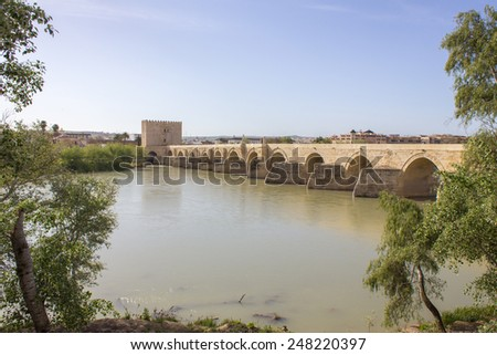 Roman Bridge and Tower of Calahorra in Cordoba - Spain  - stock photo