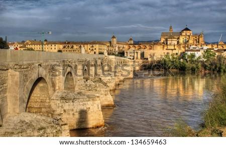 Roman bridge of Cordoba in Spain - stock photo