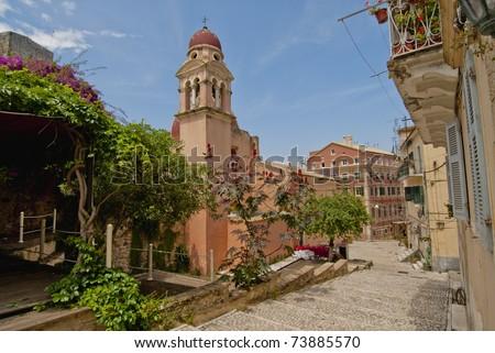 Roman Catholic Cathedral in Corfu city (Kerkyra), Greece - stock photo