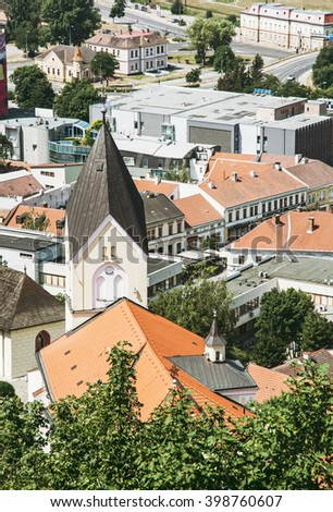 Roman catholic church of the Birth of Virgin Mary, Trencin, Slovak republic. Vertical composition. - stock photo