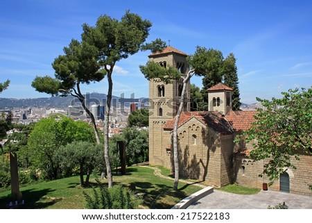 Roman church in Poble Espanyol in Barcelona - stock photo