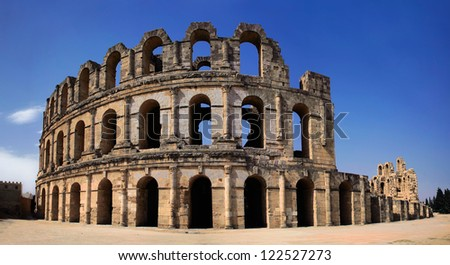 Roman Colosseum in Tunisia , Panorama - stock photo