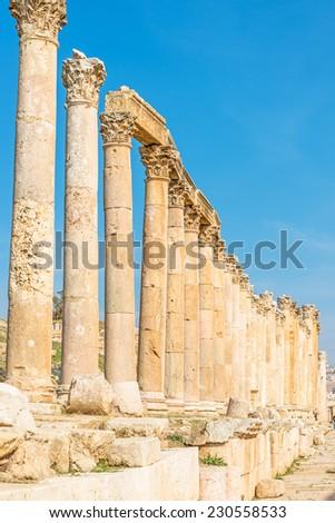 Roman columns in the Greco Roman city of Gerasa, modrn Jerash, Jordan. - stock photo