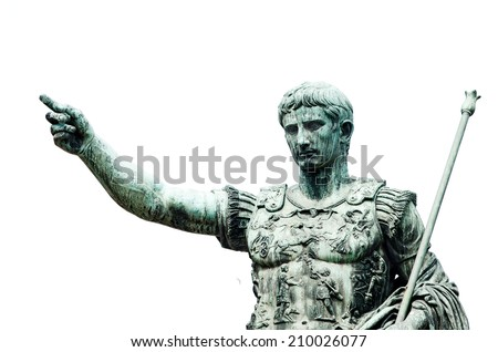 Roman emperor bronze statue isolated on white - stock photo