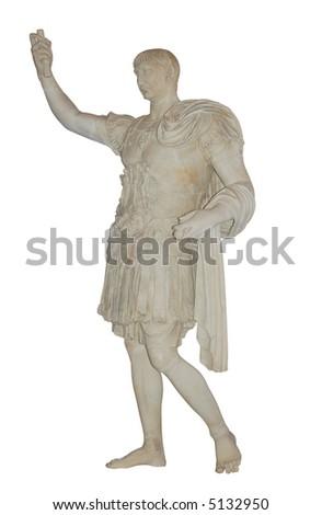 Roman emperor Julius Caesar statue isolated over white background - stock photo