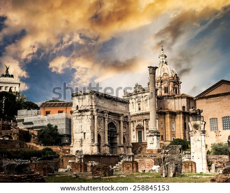 Roman Forum in Rome in sunset, Italy - stock photo