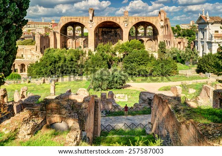 Roman Forum in Rome, Italy. The Basilica of Maxentius and Constantine in the distance. - stock photo