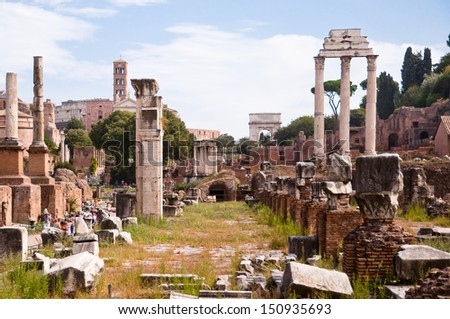 Roman forum panoramic view from inside at Rome - Italy - stock photo