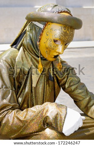 ROMAN FORUM, ROME- JUNE 27: A street artist performs for tourists in the historical center of Rome, June 27, 2010 in Rome, Italy. - stock photo