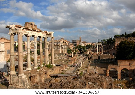 Roman Forum, the center of Ancient Rome - stock photo