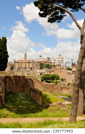 Roman forum viewed from Palatine Hill on a sunny day in Rome, Italy - stock photo