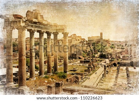 Roman Forums  - artistic retro styled picture - stock photo