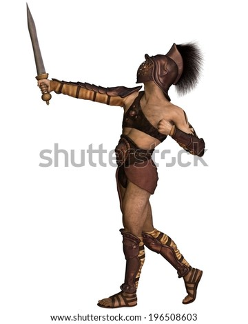 Roman gladiator based on the Murmillo or Myrmillo type with gladius short sword, helmet and armour in an heroic pose, 3d digitally rendered illustration - stock photo