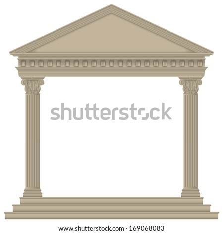 Roman/Greek Temple with Corinthian columns, high detailed - stock photo