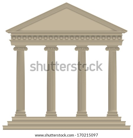 Roman/Greek Temple with ionic columns, high detailed - stock photo