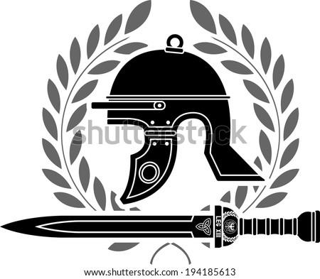 roman helmet.stencil. fourth variant - stock photo