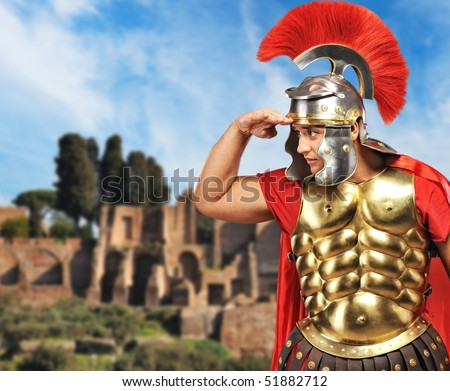 Roman legionary soldier in front old city of Rome - stock photo