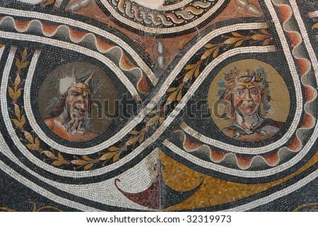 Roman mosaic from Pompeii, Italy - stock photo