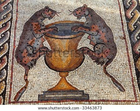 Roman mosaic in the israeli city of Lod - stock photo