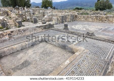 Roman mosaics in Volubilis, Morocco - stock photo