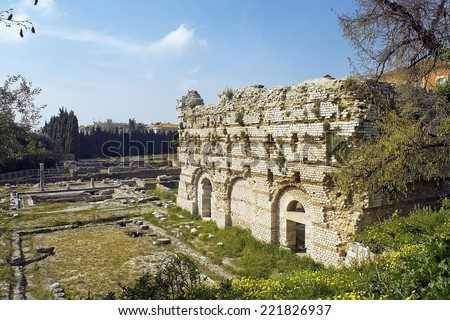 Roman ruins in Nice, archeological Museum of Nice-Cimiez is located on the outskirts of the ancient city of Cemenelum (Cimiez) - stock photo
