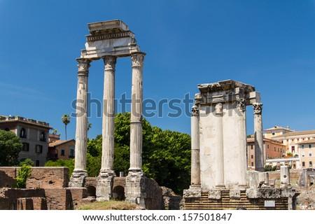 Roman ruins in Rome, Forum - stock photo