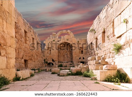 Roman ruins in the Jordanian city of Jerash (Gerasa of Antiquity), capital and largest city of Jerash Governorate, Jordan - stock photo