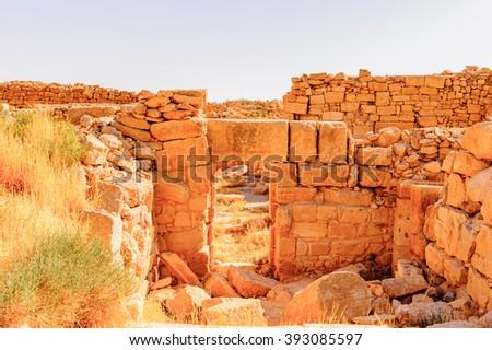 Roman ruins in Umm ar-Rasas,an archeological site in Jordan. UNESCO World heritage - stock photo