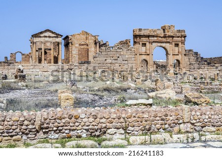 Roman ruins of Sufetula near Sbeitla, Tunisia - stock photo