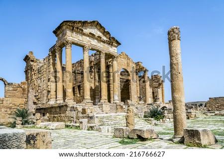 Roman ruins of Sufetula near Sbeitla, Tunisia - stock photo