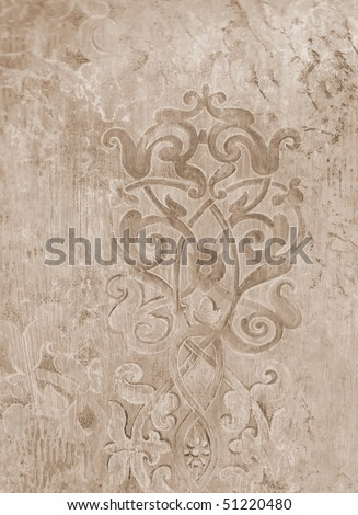 roman scratched fresco decor background. More of this motif & more textures in my port. - stock photo