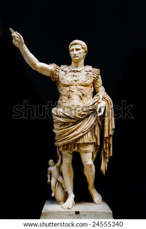 Roman statue of emperor Caesar Augustus - stock photo
