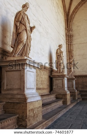 Roman statues in Florence, Italy - stock photo