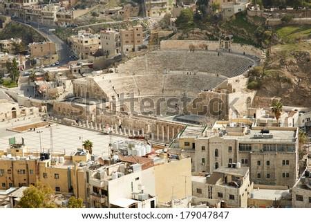 Roman theater in Amman, Jordan. Aerial view  - stock photo