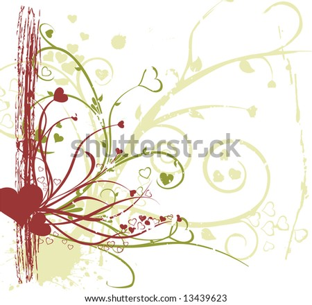 romance concept with flower and love ornaments - stock photo