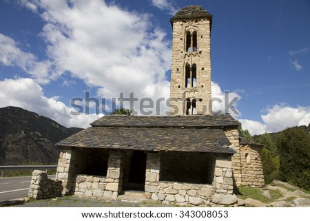 Romanesque church Sant Miquel d Engolasters whose main architectural feature is the bell tower,  Andorra, UNESCO World Heritage Site - stock photo