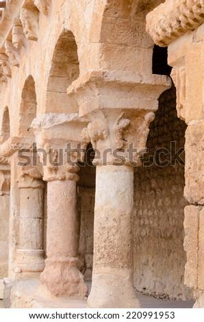 Romanesque columns in San Miguel church, San Esteban de Gormaz, Soria, Spain - stock photo