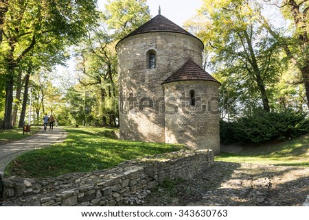 Romanesque rotunda from circa 1180, St. Nicholas Church in Cieszyn, Poland, Europe. - stock photo