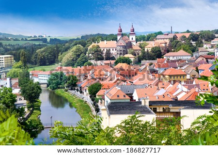 romanesque St. Procopius basilica and monastery, jewish town Trebic (UNESCO, the oldest Middle ages settlement of jew community in Central Europe), Moravia, Czech republic, Europe - stock photo