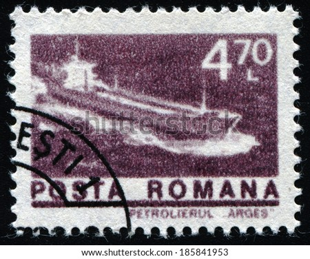 """ROMANIA - CIRCA 1974: A stamp printed in Romania shows Tanker """"Arges"""", with the same inscription, from the series """"Ships"""", circa 1974 - stock photo"""