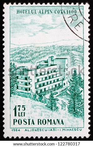 ROMANIA - CIRCA 1964: a stamp printed in the Romania shows Hotel Alpin, Polana Brasov, Tourist Publicity, circa 1964 - stock photo