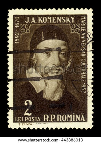 ROMANIA - CIRCA 1958: a stamp printed in the Romania shows Jan Amos Komensky (John Amos Comenius), czech philosopher, pedagogue and theologist, circa 1958 - stock photo