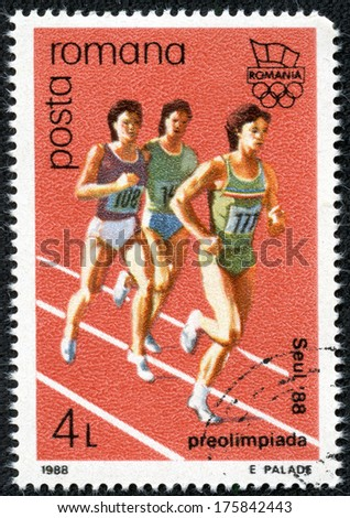 ROMANIA - CIRCA 1980: stamp printed by Romania, dedicated to Olympic games, Moscow 1980 shows long-distance running, circa 1980 - stock photo