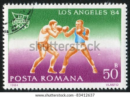 ROMANIA - CIRCA 1984: stamp printed by Romania, show boxing, circa 1984. - stock photo