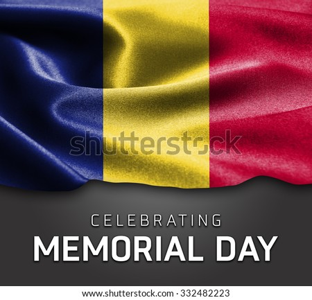 Romania flag and Celebrating Memorial Day Typography - stock photo