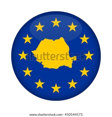 Romania map on a European Union flag button isolated on a white background. - stock photo