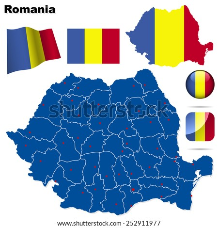 Romania set. Detailed country shape with region borders, flags and icons isolated on white background. - stock photo