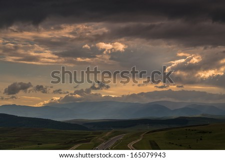 Romania, Transylvania Motorway A3 with Storm coming - stock photo