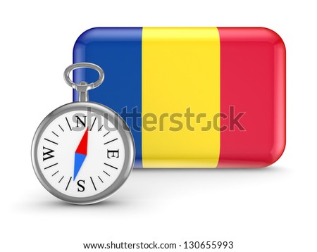 Romanian flag.Isolated on white background.3d rendered. - stock photo