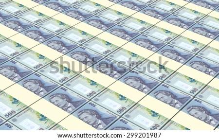 Romanian leu bills stacks background. - stock photo
